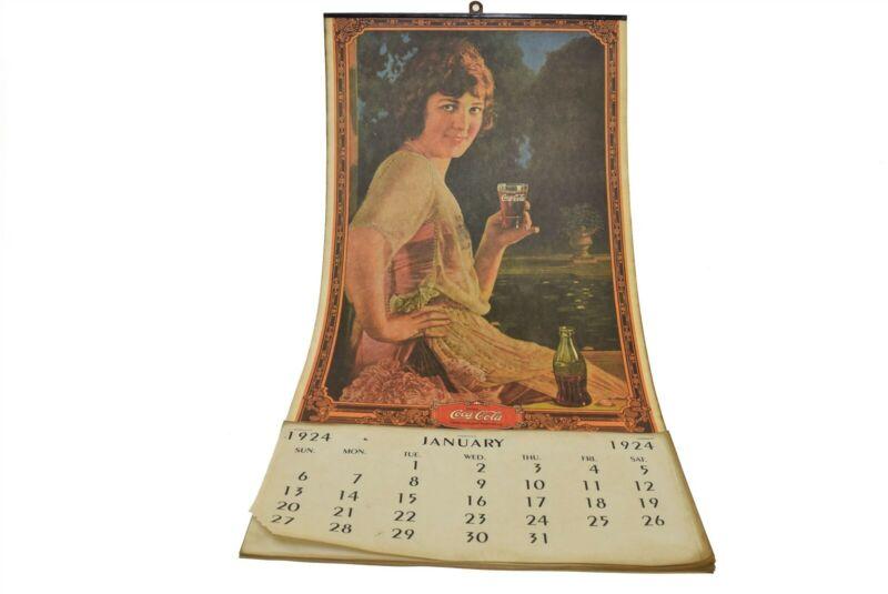 "Reproduction Antique Coca Cola 1924 Calendar Wall 21.5"""