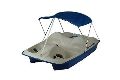 Sun Dolphin 5 Seat Pedal Boat Canopy Blue Water Sports Paddle Cooler Storage New