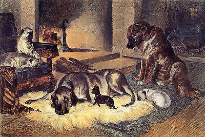 "PUG ENGLISH TOY TERRIER MASTIFF LEONBERGER DOG ART PRINT ""Engraving"" Winters Day"