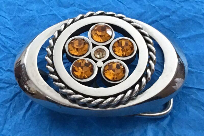 VTG Polished & Roped STAINLESS STEEL & Golden RHINESTONES Western BELT BUCKLE
