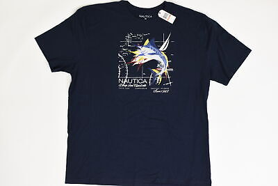 Nautica, 3XL Short Sleeve Solid Pacific Islands Blue Cotton Casual Men Tee Shirt