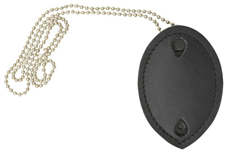 Clip-On Leather Shield Style Badge Holder Pocket Belt Clip Neck Chain Marshal