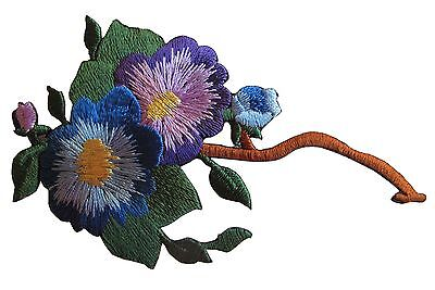 4535A Purple Blue Flower Embroidery Iron On Appliqu  Patch