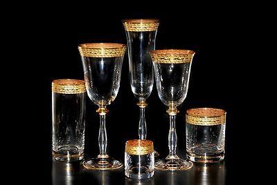 Set, 36 x Glas Weißwein Rotwein Sekt Wasser Whisky Wodkagläser Goldrand, Bohemia