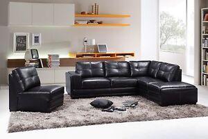 New GENUINE LEATHER 'L' Shape Corner Lounge Sofa set with Storage Brisbane City Brisbane North West Preview