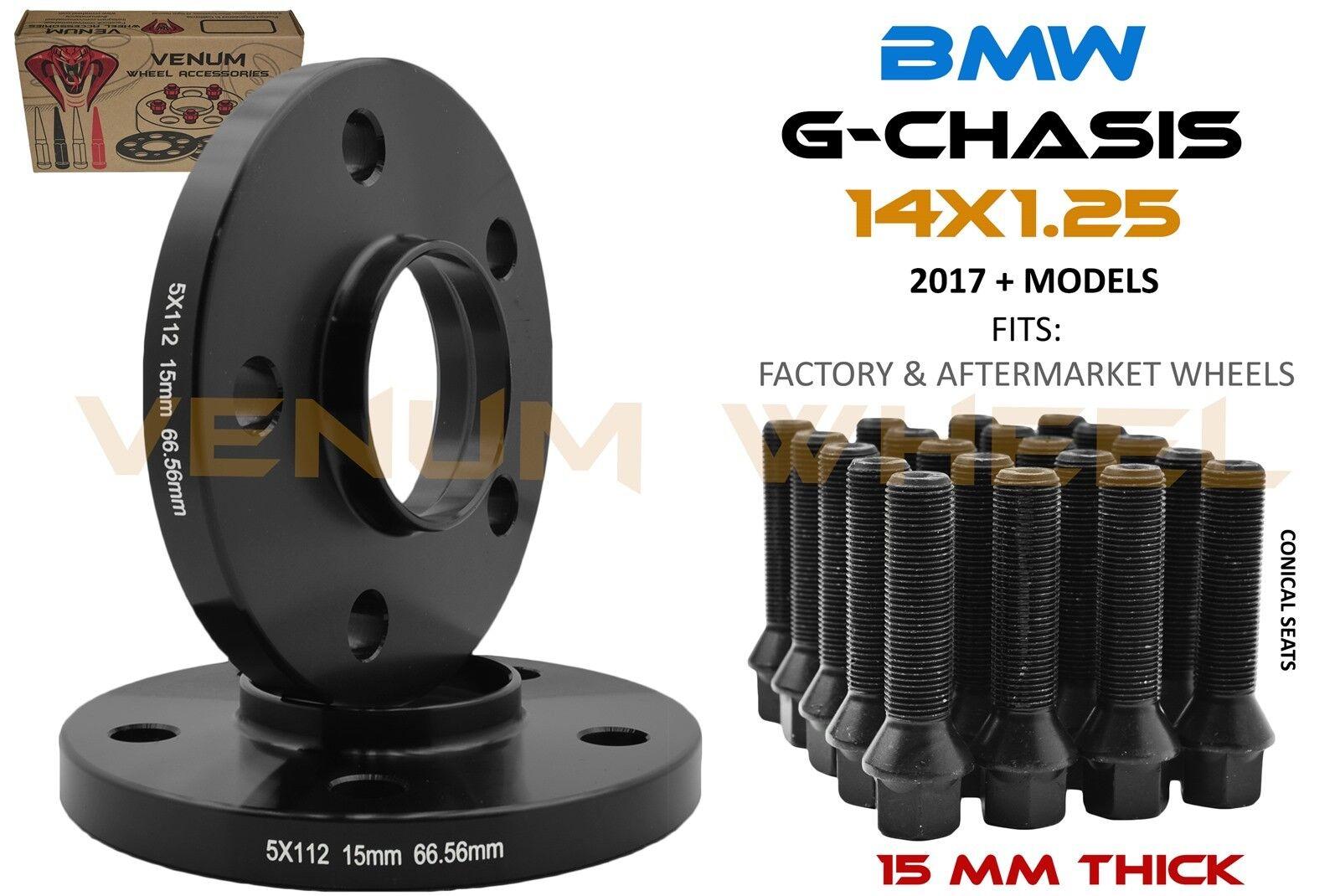4 17mm Hub Centric Wheel Spacers 5x112 Mercedes 12x1.5 Black Lug Bolts 66.56 CB
