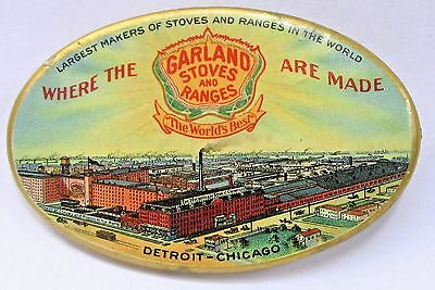 circa 1910 GARLAND STOVES & RANGES factory advertising celluloid pocket mirror *