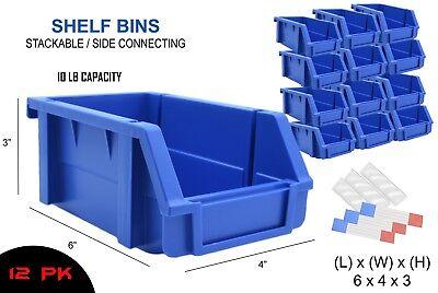 12 Pk Shelf Bins 6 X 4 X 3 Blue Stackable Stack Storage Bins Label Covers Usa