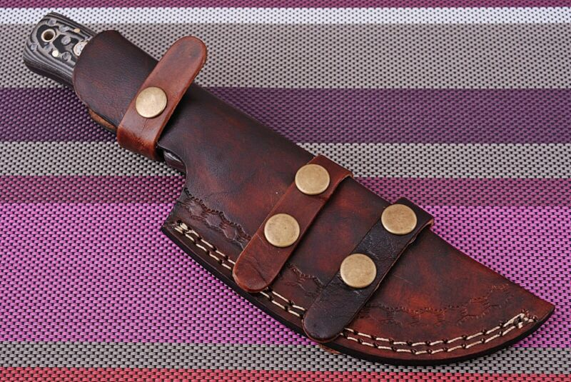 Double stitch custom hand made pure leather sheath for fix blade knife