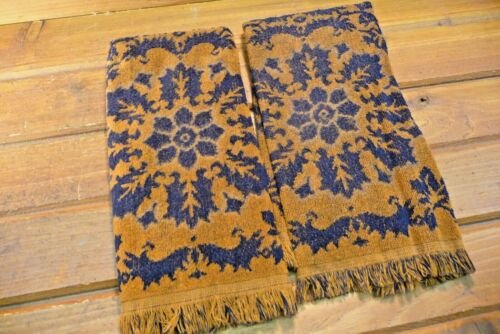 2 Vintage Fashion Manor Bath Hand Towel Set w Fringe Brown & Dark Blue