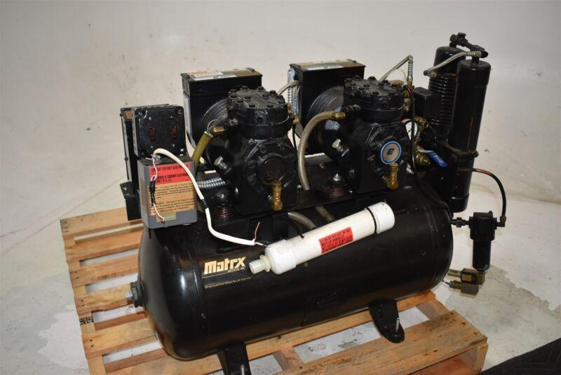 Matrx AMD 100-2 Dental Air Compressor Oiled Unit Quiet 220V 2 HP