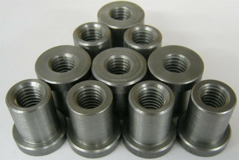 """Weld on Nuts 1/2""""-13 Thread LONG Threaded Nut Steel Chassis Mount Tab Pack of 10"""