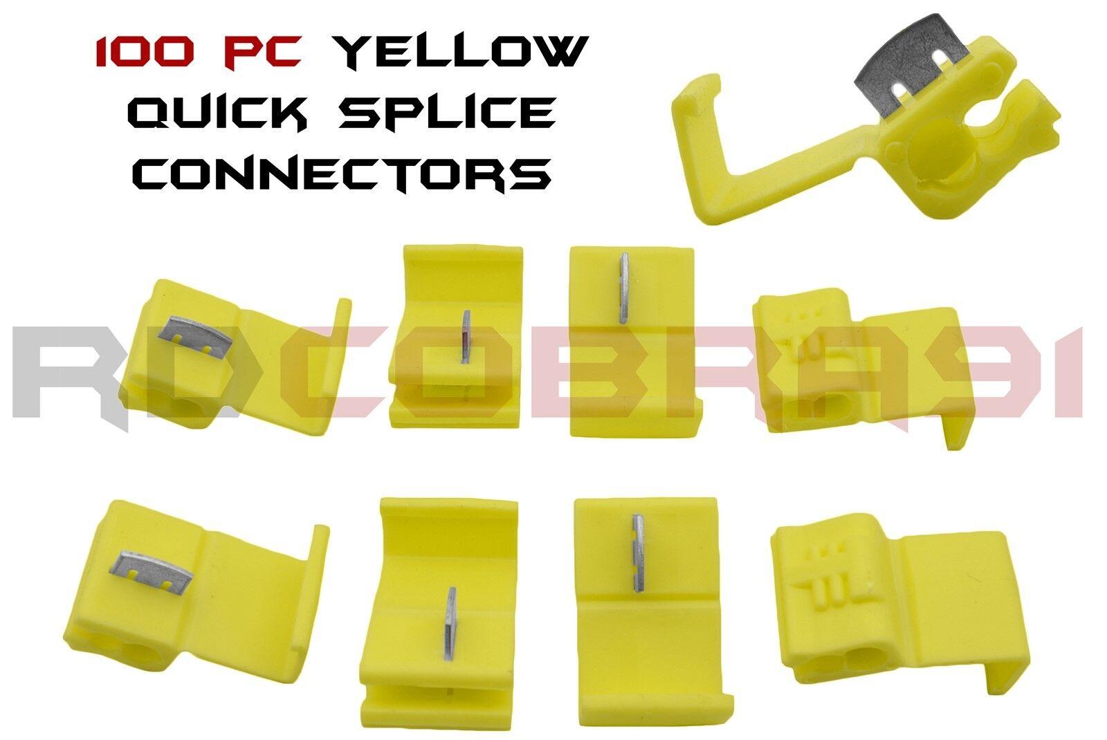 100 Pcs Yellow Solderless Wire Quick Splice Connectors 10-12 Gauge Made In U.S.A