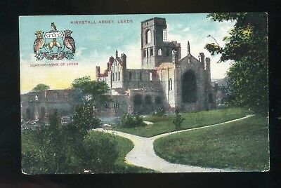 LEEDS Kirkstall Abbey with Leeds Coat of Arms   coloured