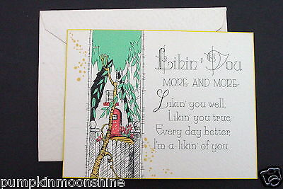 # I 561- Vintage Unused Art Deco Greeting Card Hand Colored Country Cottage