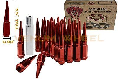 Fits Ram - 32 Red Spike Lug Nuts 14x1.5 + 1 Key Fits Ram 2500 3500 Silverado 2500 3500 GMC