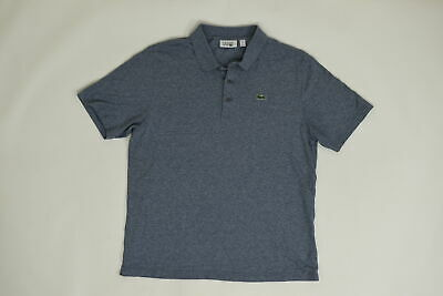 Lacoste Sport, 7 2XL Short Sleeve Solid  Blue Cotton Casual Men Polo