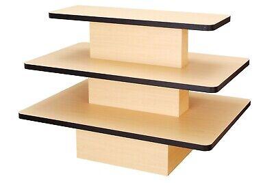 Multi Purpose Upscale 3 Tier Rectangular Maple Wooden Display Table - L3tm