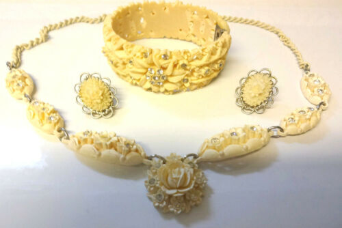 Vintage Clear Rhinestone Celluloid Clamp Bracelet Necklace Clip On Earrings Set
