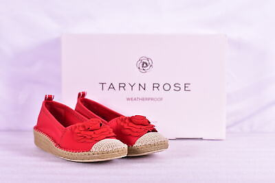 Women's Taryn Rose Quincy Neoprene Flower Espadrille Wedges, Sangria Red Womens Red Flower
