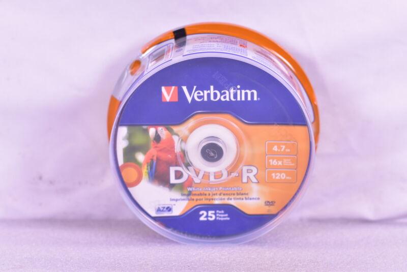 Verbatim DVD-R 4.7 GB White Inkjet Printable Hub, 25 Count