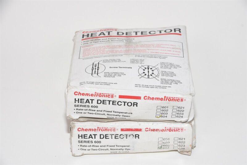 Lot of 2 Chemetronics 600 Series 604 Fixed Temperature 200° Heat Detector