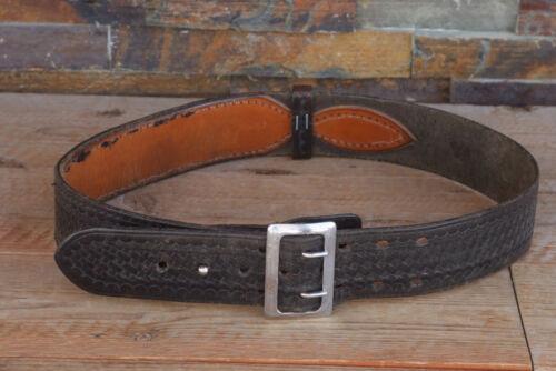 "Vintage Safariland Leather 2 1/8"" Black Belt Size 36 North & Judd Anchor Buckle"