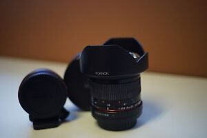 Rokinon 14mm f2.8 and La Ea1 (Sony a mount to e mount adapter)