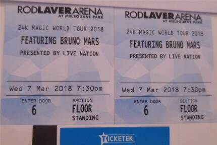 [SWAP] - x2 BRUNO MARS MELBOURNE 2018 SATURDAY TICKETS WANTED