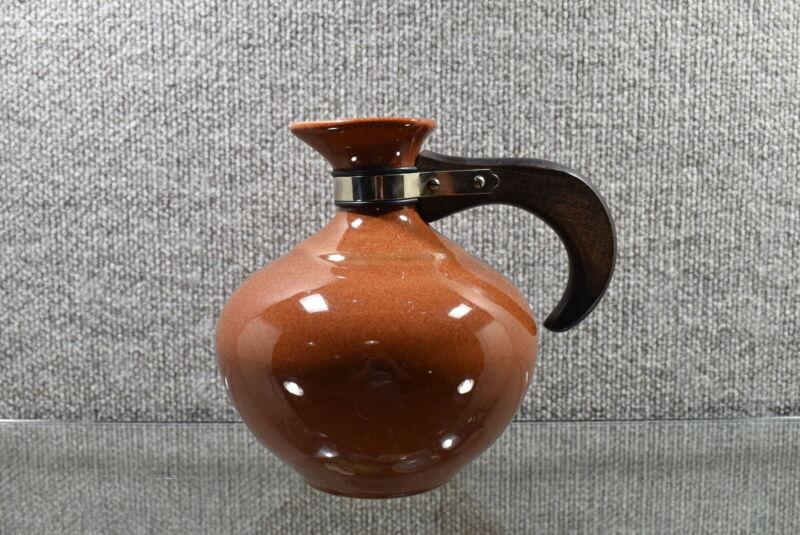 "VTG Metlox Poppy Trail  Coffee Carafe Wood Handled Brown 7.5""x8.5"""
