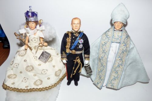 "3 NISBET ROYAL WEDDING DOLLS 8"" QUEEN ELIZABETH II, PRINCE PHILLIP, ARCHBISHOP"
