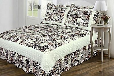 3 PC Quilt Bedspread Multi Animal Print Patchwork Design Ful