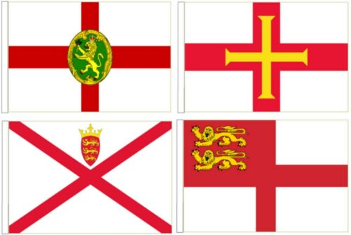 Channel Islands Flags - All 4 Sleeved Courtesy flags for Boats 45cm x 30cm