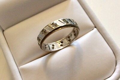 Lovely Ladies Vintage Two Colour 9CT Gold Spinel Set Eternity Ring - N 1/2  9ct Gold Two Colour
