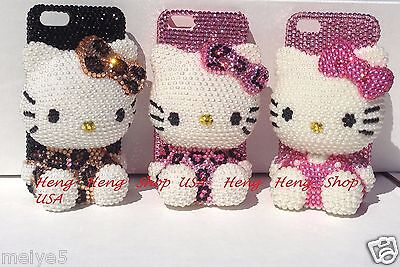 3D hello kitty cheetah Pink iPhone crystal case bling diamond cover Leopard -
