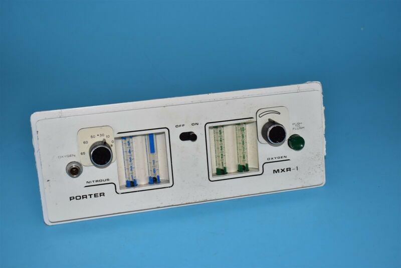 Porter 2055 MXR-1 Dental Dentistry Conscious Sedation No2 Nitrous Flowmeter