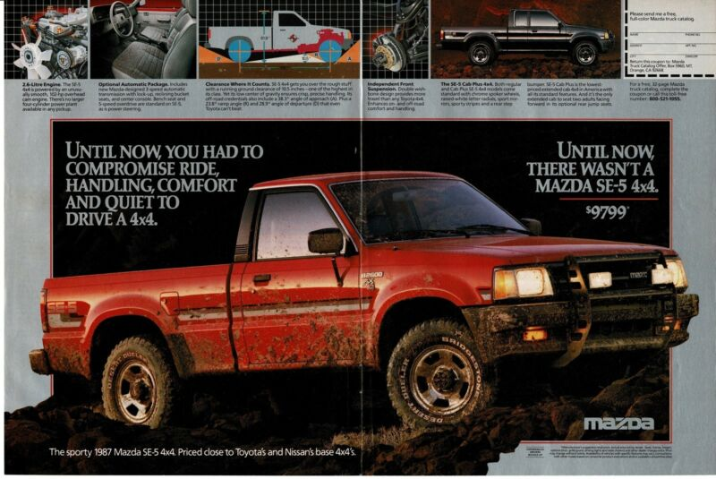 1987 MAZDA SE-5 4x4 B2600 Red Pickup Truck all muddy Centerfold Vintage Ad