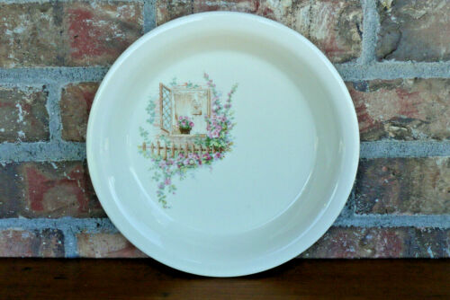 """Vintage COORS POTTERY Thermo Porcelain 10"""" Pie Plate OPEN WINDOW Pattern ~ USA"""