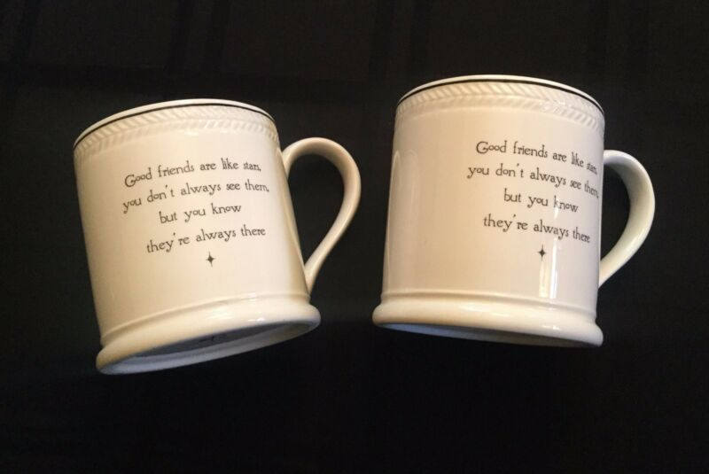 Good Friends Are Like Stars Gift Mugs Matched PAIR You Always Know They're There