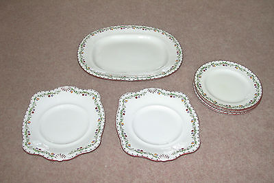 TUSCAN CHINA  J H ALMACK LEEDS 3 DESSERT 2 SANDWICH 1 SERVING PLATE HAND PAINTED