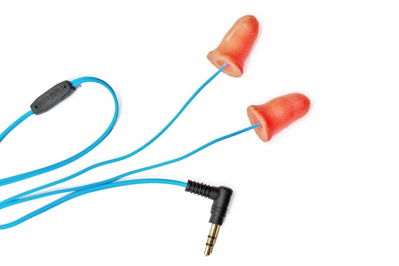 Orange Plugfones NOISE ISOLATING, EARBUDS EARPLUGS HEADPHONES HEARING PROTECTION