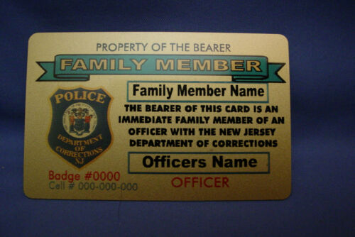NJDOC NJ DEPT OF CORRECTIONS GOLD BRASS CARD- FAMILY MEMBER FRIEND- PBA -FOP