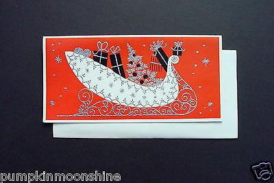 Vintage Unused Silver Embossed Xmas Greeting Card  White Sleigh full of Gifts