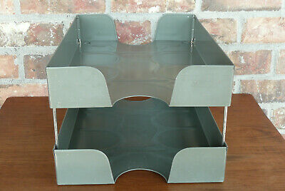 Weis 124 Vintage Desk Top Paper - Letter Tray 2 Tier Metal Organizer