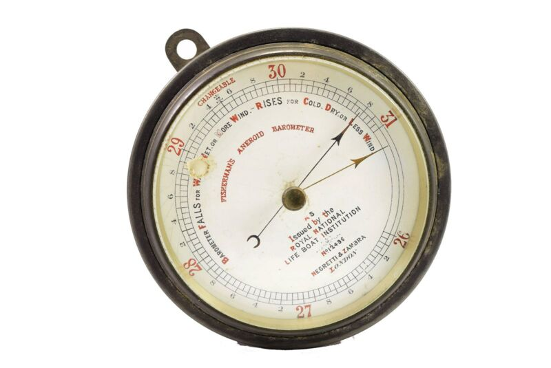 Antique Negretti & Zambra Aneroid Barometer Issued By Royal National Life Boat