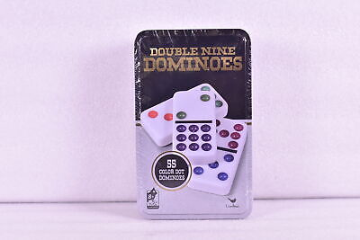 Cardinal Games Double Nine Dominoes Game in a Tin - 55 Color Dot Dominoes