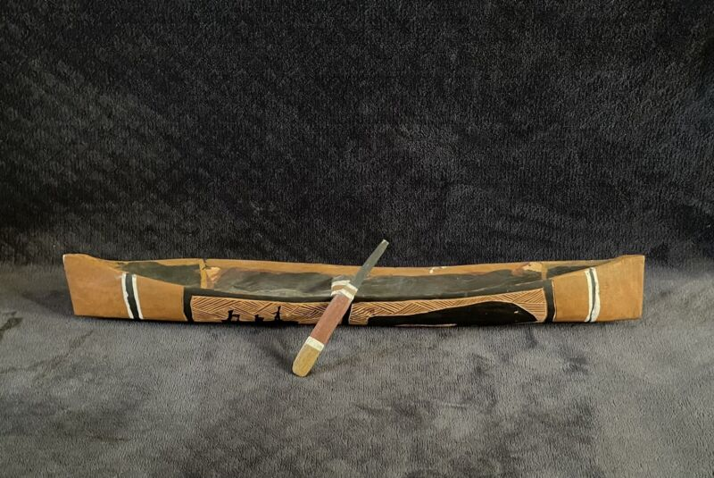"Australian Aboriginal Arnhem Land Carved Wooden Canoe 23"" Indigenous Folk Art"