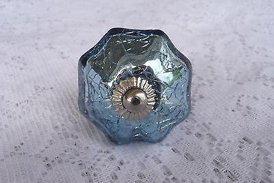 Blue Mercury Glass Scallop Crackle Pumpkin DRAWER PULL KNOB w/ Silver metal - Glass Scallop