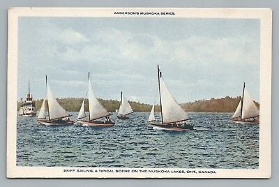 Skiff Sailing MUSKOKA LAKES Anderson's Series—Rare Ontario Boats~1930s