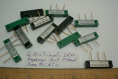 12 Trim Pots Pc Mount Assorted Some Mil. 50 Ohms Amphenol Lot 62 Made In Usa